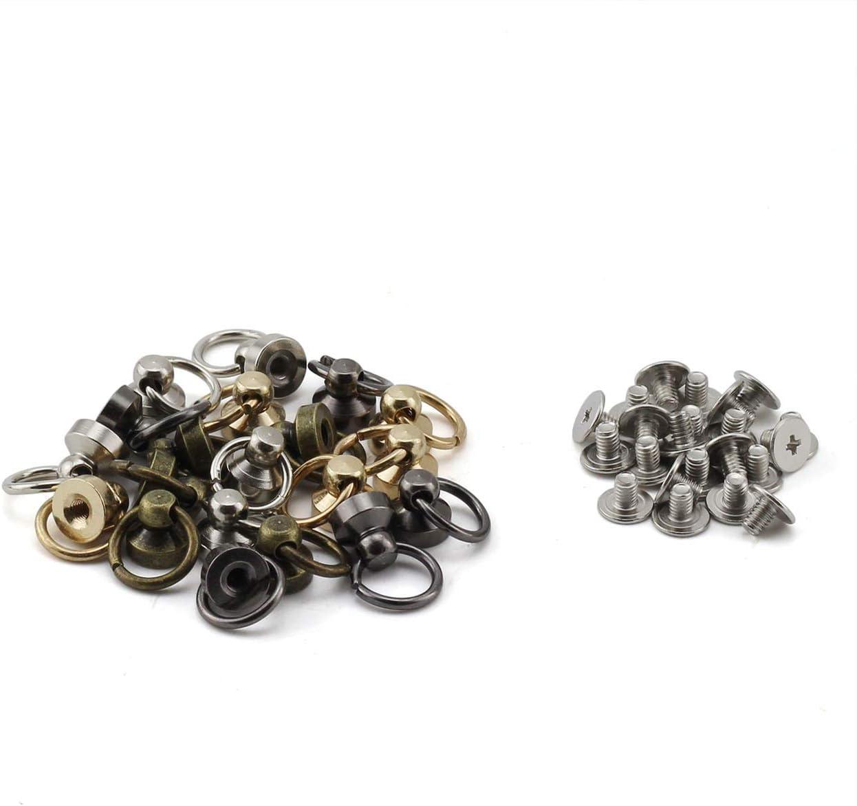20pcs Rivets Fasteners Chain Bag Screws 8mm 4 Colors DIY Leather Craft Purse Phone Case Screws Accessory Black