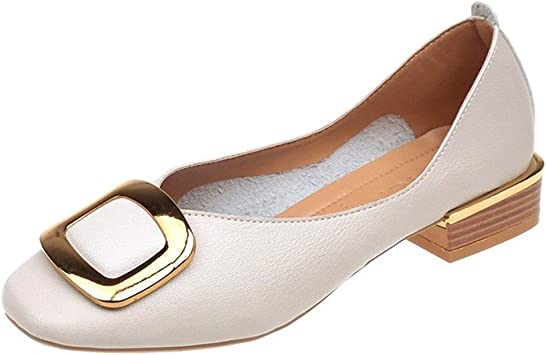GIY Womens Comfortable Point Toe Flat Pumps Shoes Lace-up Round Toe Slip On Walking Flats Shoes