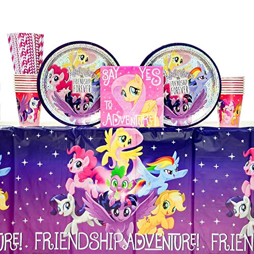 My Little Pony Table (My Little Pony Friendship Adventures Birthday Party Supplies Pack for 16 Guests   24 Paper Straws, 16 Dinner Plates, 16 Luncheon Napkins, 16 Cups, and Table Cover   My Little)