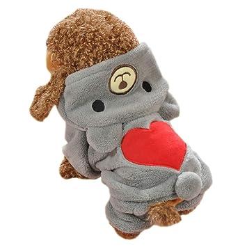 Gahat Mascotas Ropa Mascotas Disfraz Puppy Jumpsuit Outwear Abrigo Ropa Sudadera con Capucha para Teddy, Yorkshire Terrier, Chihuahua, Pomerania Size S: ...