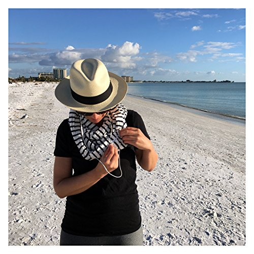 Smart Travel Scarf with Secret Pickpocket Proof Zipper Pockets (Black/White Stripes)