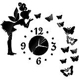 妖精の女の子ステッカーdiyの針クォーツ壁掛け時計用ホームリビングルーム現代のミニマリストの壁掛け時計ファッション3dミラー時計 - 黒