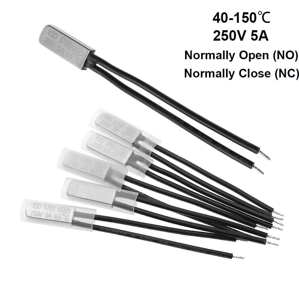 SUPERTOOL Lot de 5 protections thermiques KSD9700 normalement ferm/é//ouvert thermostat de temp/érature bim/étal 40 /°C /à 150 /°C
