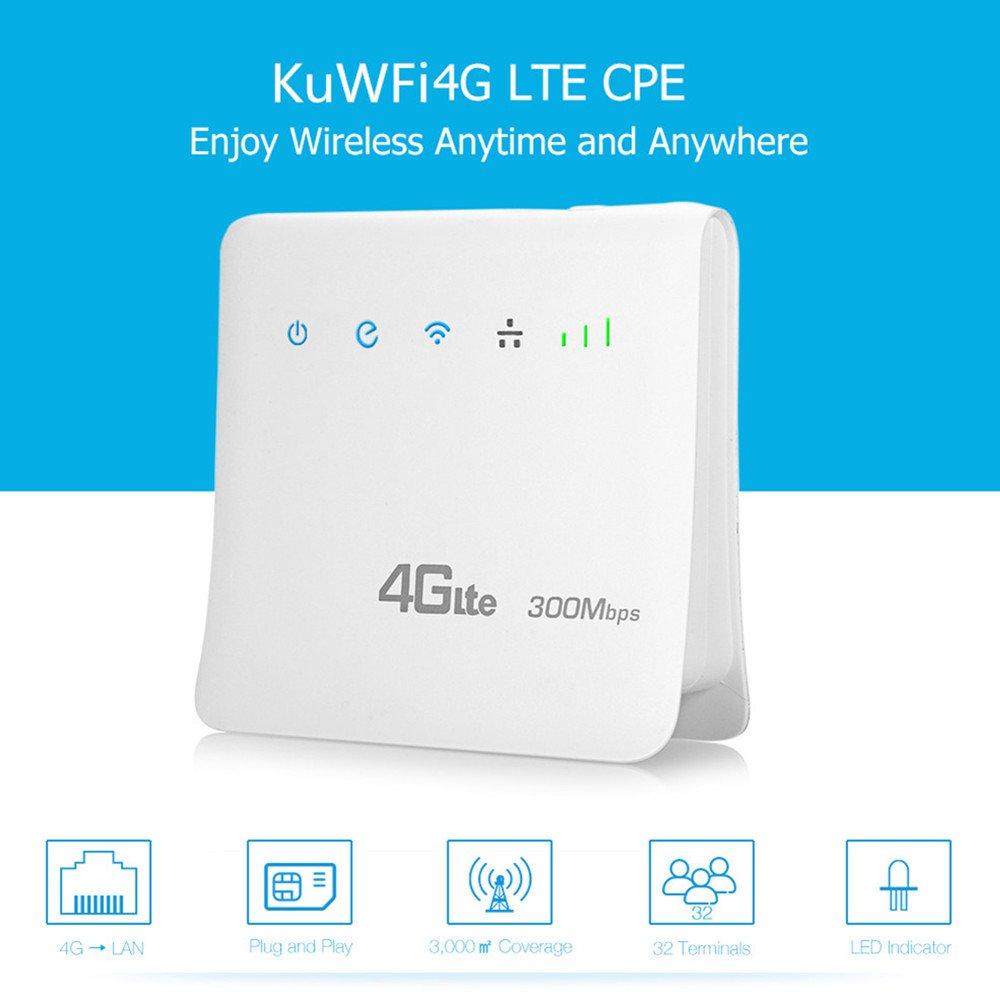 KuWFi Router Wireless WiFi 300Mbps 4G LTE CPE Sbloccato per Slot SIM Card con Supporto LAN Port Supporto con 3 (Tre)/Telecom Italia Mobile (Tim)/Vodafone/Iliad SIM Card