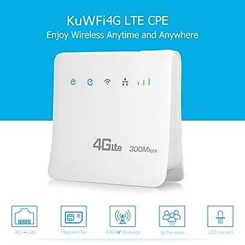 wlan router mit sim karte KuWFi WLAN Router, Entsperrt 300Mbps 4G LTE CPE Mobile: Amazon.de