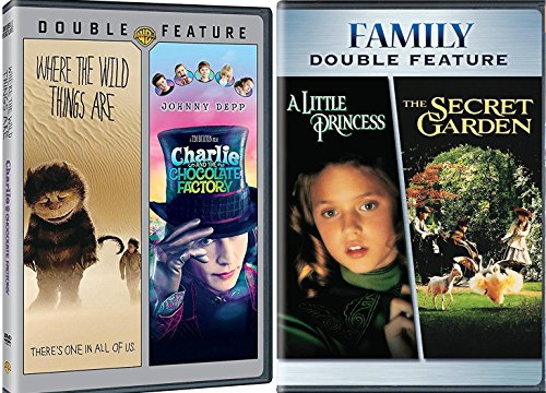 The Secret Garden & A Little Princess + Where the Wild Things Are & Charlie and the Chocolate Factory DVD Set Classic Family Fantasy Movie Bundle Fairy Tale Magical Feature Favorites