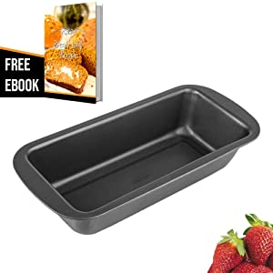 "Loaf Pan Bakeware, 9.5 x 4.5"" Nonstick Carbon Steel Bread Pan, Quick Release Baking Pan for Baking Banana Bread Meatloaf with Bread Loaf Recipe Ebook"