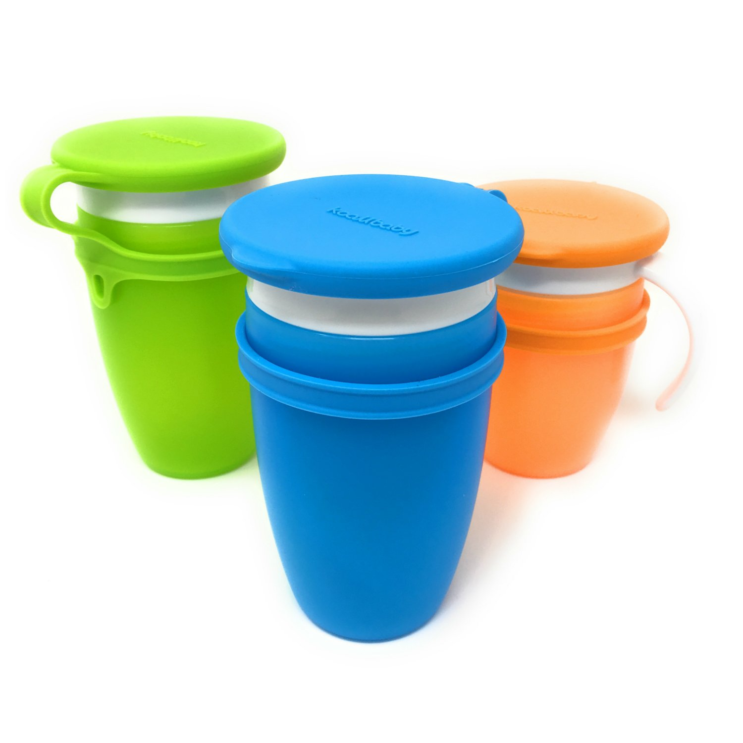 Custom Lids For All Munchkin Miracle 360 Cups. Set Of Three In Blue, Green & Orange.