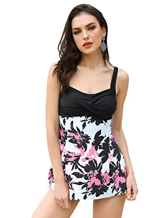 c05ba5edf71 JOYMODE Women's Floral Ruched Swimdresses 2 Piece Swimsuit Brief Bottoms  Swimwear Size M-5XL