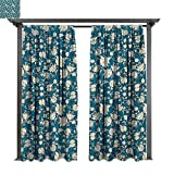 Combynee Outdoor Privacy Curtain, Flowering Garden Pattern with Scroll Details Vintage Leaves and Blossoms, for Front Porch Covered Patio Gazebo Dock Beach Home (W84 x L108 Inches Cream Petrol Blue)
