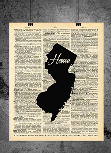 Jersey Piece Frame - New Jersey State Vintage Map Vintage Dictionary Print 8x10 inch Home Vintage Art Abstract Prints Wall Art for Home Decor Wall Decorations For Living Room Bedroom Office Ready-to-Frame Home