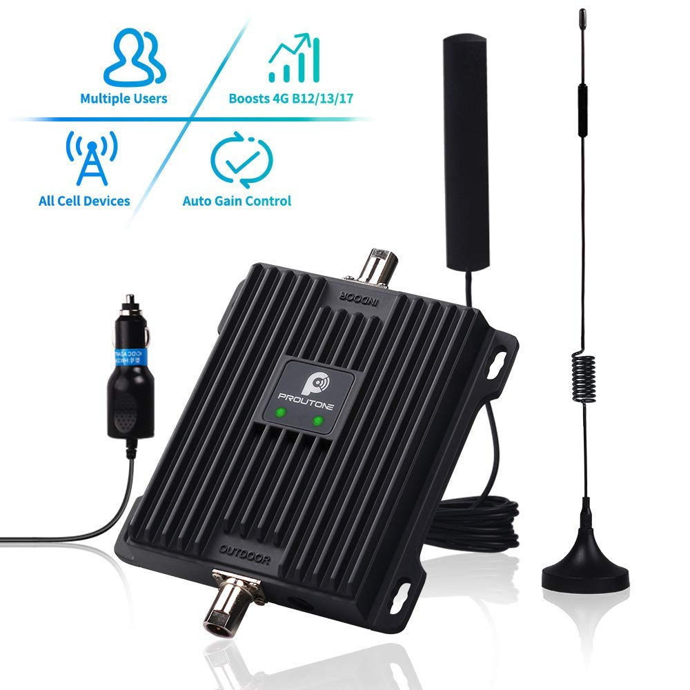Cell Phone Signal Booster for Car, Truck and RV - Verizon AT&T 4G LTE Signal Booster Dual 700MHz Band 12/13/17 Repeater Amplifier Kit Enhance Cellular Voice Over 4G & Data Signal in Vehicle by P PROUTONE