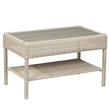 Astounding Hampton Bay Park Meadows All Weather Steel Framed White Wicker Outdoor Coffee Table Durable And Rust Resistant Alphanode Cool Chair Designs And Ideas Alphanodeonline