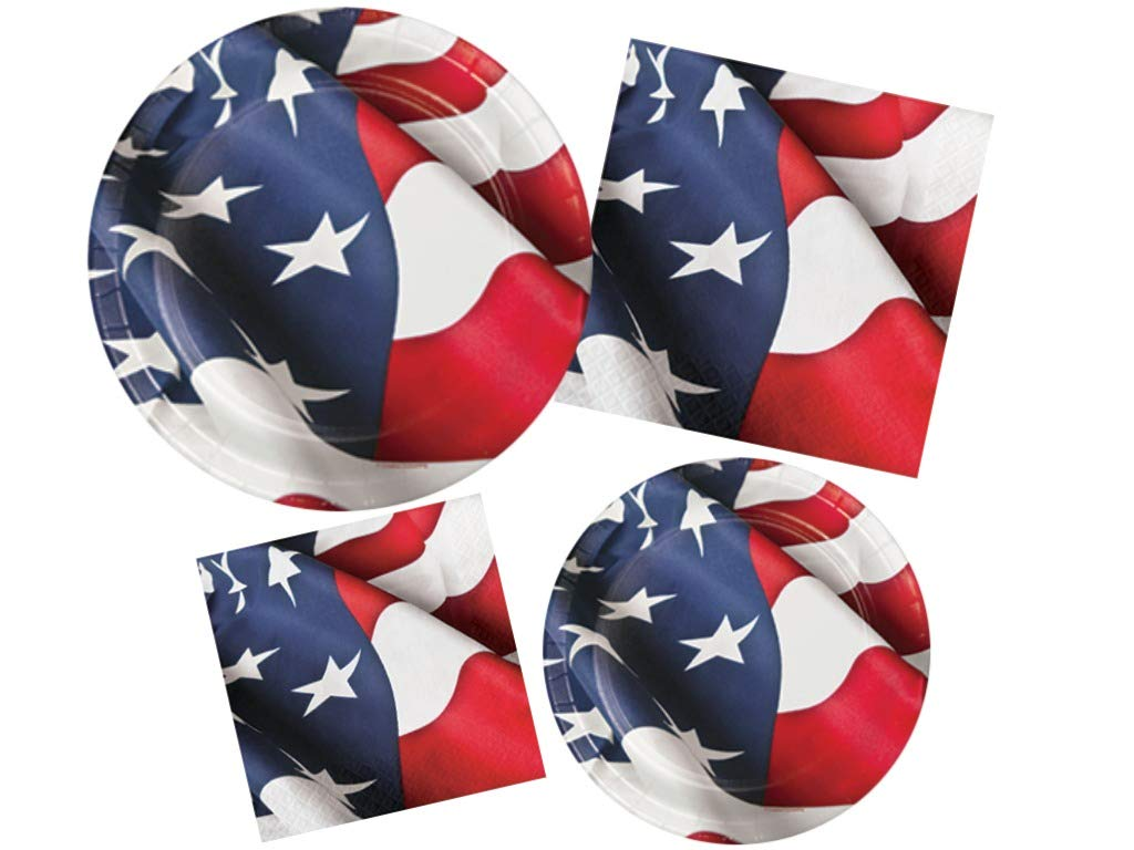 4th of July Patriotic USA Stars & Stripes Flag Summer Party Supplies Paper Plates & Napkins for 32 Guests
