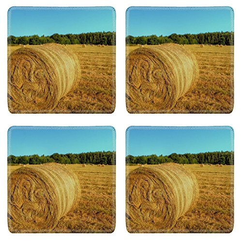 msd-natural-rubber-square-coasters-set-of-4-image-of-field-hay-farm-straw-bale