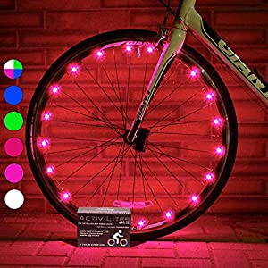 Super Cool Bike Wheel Lights (1 Tire, Pink) Top Christmas Presents & Birthday Gifts for Girls 3 Year Old + Teens & Women. Best Unique 2017 Xmas Ideas for Her, Wife, Mom, Sister and Popular Aunts
