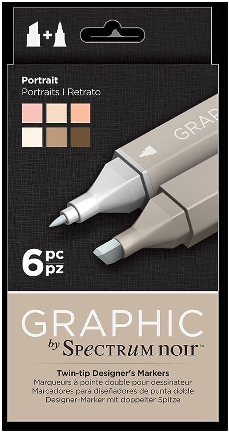 6pk Art Spectrum Noir Portrait Craft Alcohol Marker Pen Graphic Nib Set