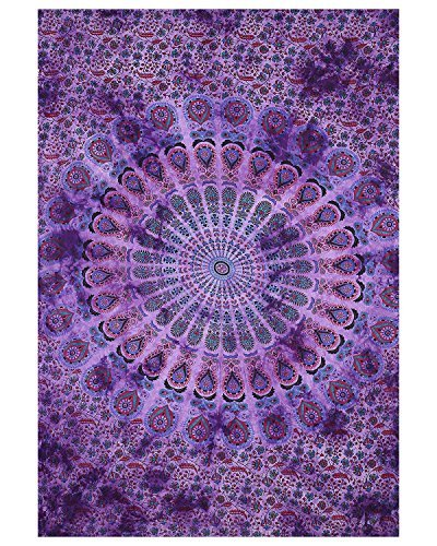 Indian Hippie Bohemian Psychedelic Peacock Mandala Wall hanging Floral Gold Bedding Tapestry Purple Tie Dye