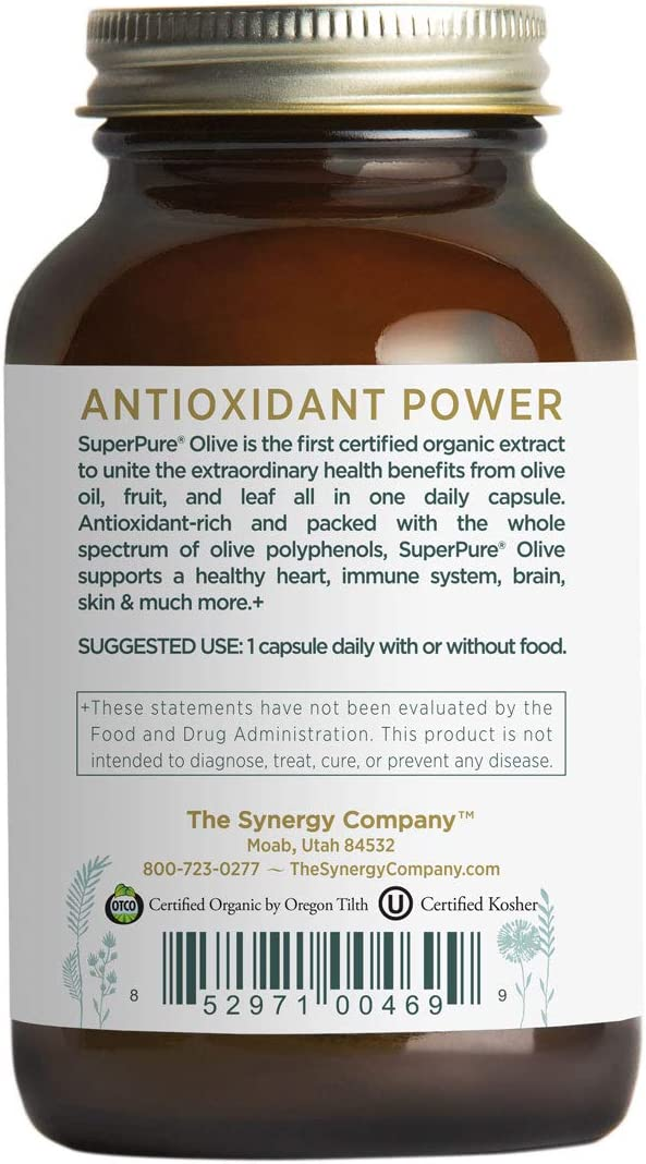 Pure Synergy USDA Organic SuperPure Olive Leaf, Oil, Fruit Extract 60 Capsules w Oleuropein Hydroxytyrosol