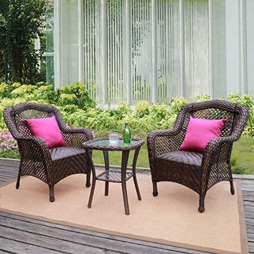 HAPLIFE Patio Conversation Set 3 PCs Rattan Wicker Outdoor Furniture Chair Set Water-Resistant