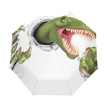 bennigiry garras de dinosaurio Gr 3 Folds Auto Abrir Cerrar paraguas compacto, resistente al viento