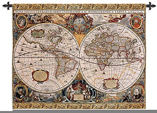 Fine Art Tapestries ''Antique Map Geographica'' Wall Tapestry, Large by Fine Art Tapestries