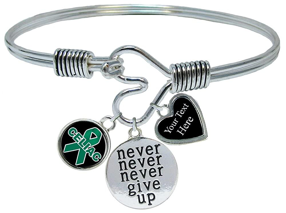 Holly Road Celiac Disease Awareness Never Give Up Bracelet Jewelry Choose Your Text