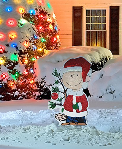 productworks 42 inch peanuts metal charlie brown with tree christmas decoration buy online in. Black Bedroom Furniture Sets. Home Design Ideas
