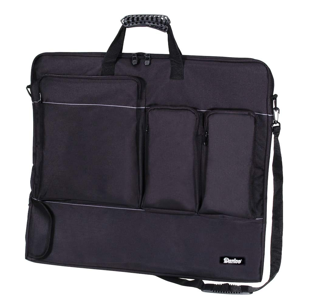 B002JPKWK2 Darice Art Portfolio Nylon Bag, Black (1pc) – Many Handy Pockets Perfect for Art Supplies and More - Roomy and Durable – With Ergonomic Handles and Shoulder Strap – Zipper Closure, 24 x28 x1.5 61zVMxODGnL