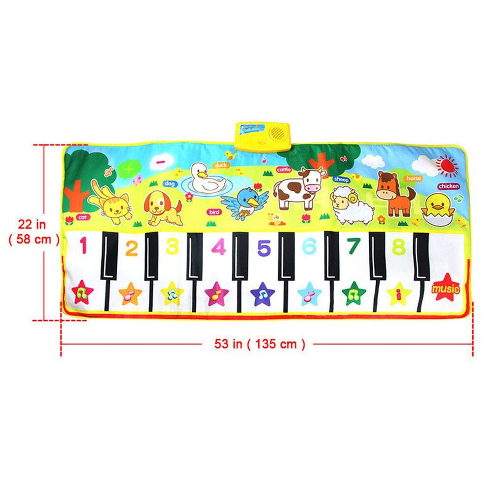lesgos Piano Mat, Kids Colorful Electronic Dance Music Mat Toy, 19 Keys Educational Keyboard Playmat Musical Carpet Blanket for 3-6 Year Old Toddler Girls Boys by lesgos (Image #2)