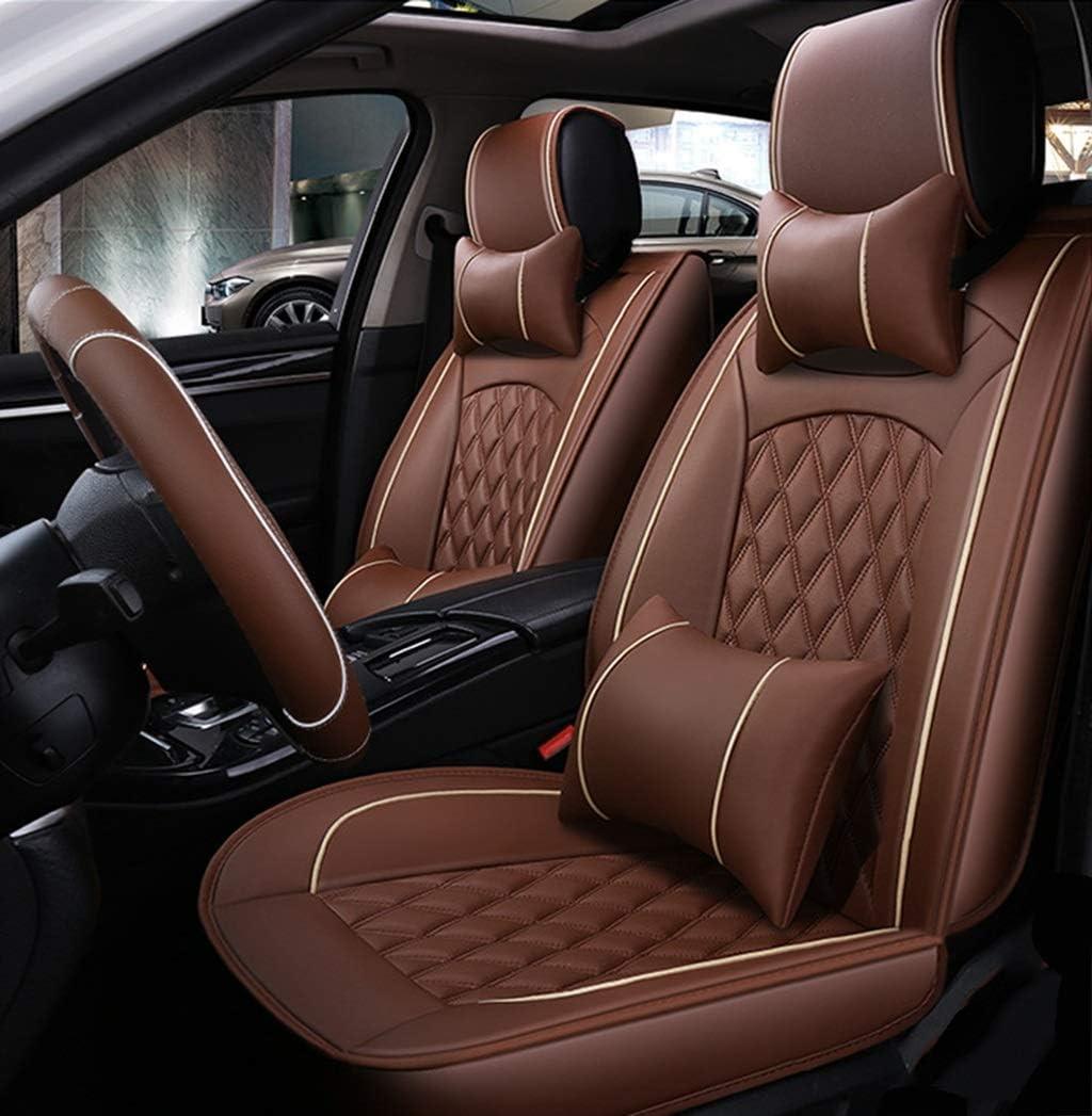 Ededi Leder Sitzbezüge Set Universal Gitter Autositzbezüge Set Voll Auto Vorderseite Und Rückseite 9 Teiliges Set Farbe Brown Auto