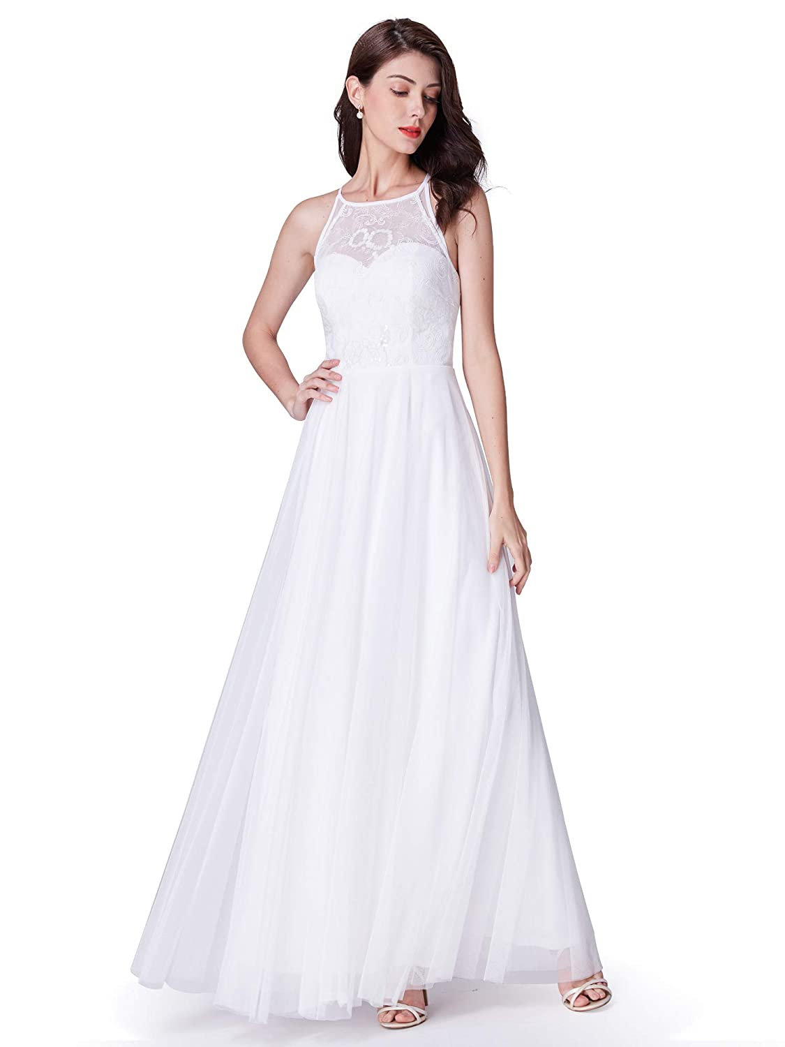 ce29aa6de4f Ever-Pretty Women Elegant A Line Halter Long Wedding Party Dress 07514 at Amazon  Women s Clothing store