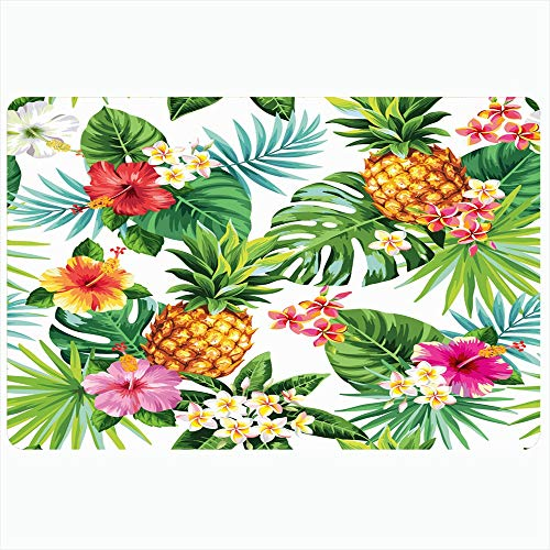 Ahawoso Indoor Bath Rug for Bathroom Non Slip Mats 20x32 Inch Tropic Tropical Pattern Pineapples Palm Leaves Nature Fruit Flower Summer Bloom Branch Leaf Aloha Bathing Shower Doormat Rubber Mat