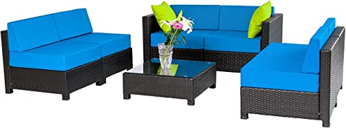 Mcombo 7Pieces Aluminum Patio Wicker Furniture Sectional Sofa Set Outdoor All-Weather PE Rattan Loveseat Lawn Conversation Blue Cushioned with Glass Coffee Table Black 6080