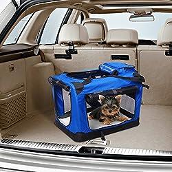 Bolsa de Transporte Perros Gatos Mascotas Viaje Tubo de Acero 4 Entradas, Medidas 70 x 52 x 52 cm, Color Azul / Negro,Pawhut