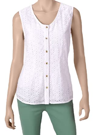 e8f5cac67daff Signature Studio Womens Eyelet Lace Woven Top