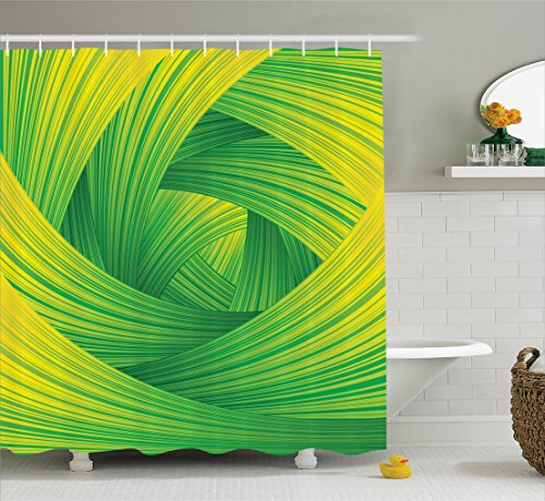 (Ambesonne Abstract Home Decor Collection, Fresh Swirl Creativity Striped Artistic Curvy Waves Trendy Illustration Image, Polyester Fabric Bathroom Shower Curtain Set with Hooks, Green Yellow)
