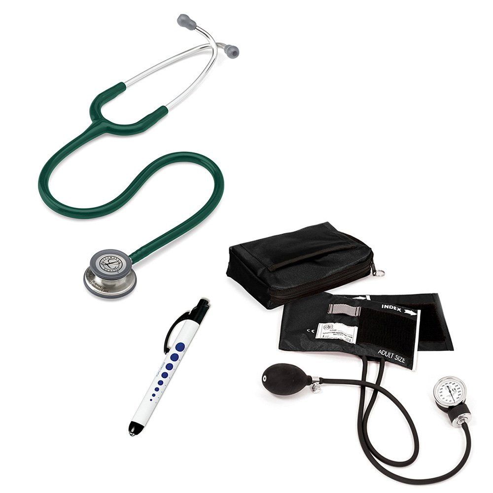 3M Littmann Classic Iii™ Prestige Medical Adult Sphygmomanometer With Case And Quick Lites Penlight Kit Hunter Green