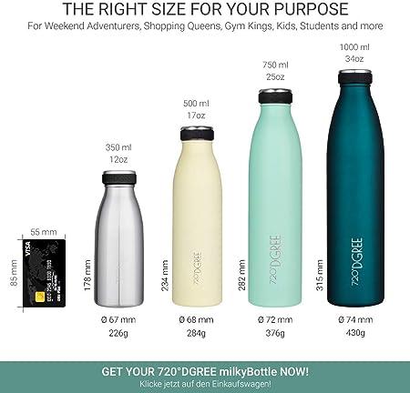 720°DGREE Botella Agua Acero Inoxidable milkyBottle – 750 ml, 750ml, Verde | Novedoso Antigoteo con Termo de vacío térmico termica Beber en el Camino Deportiva Outdoor Niños