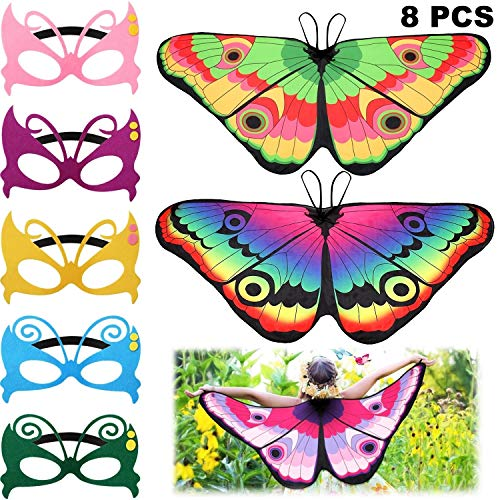 8 Pieces Kids Butterfly Costume Fairy Butterfly Wings Masquerade Masks for Boys Girls Dress Up Pretend Play Party Favors (Color Set 3) (Color Set 2) (Color Set 3)