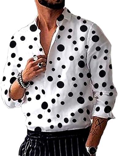 Camisa de Manga Larga con Estampado de Lunares New Wave para Hombre, botón de Cuello Alto: Amazon.es: Ropa y accesorios