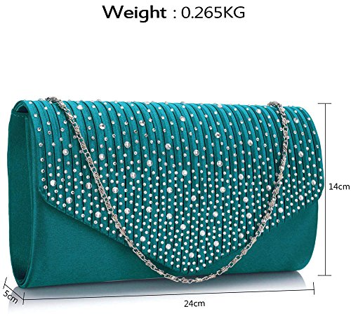 Clutch style New With Design Evening Purse Diamante Long Envelope Chain Teal 1 Ladies Handbag Women Studs dqpdFt