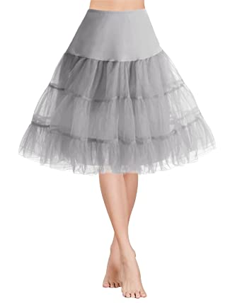 Gardenwed Vintage Jupon Femme Année 1950s Jupon Rockabilly Mini Tutu Jupe  Courte Rétro Petticoat Grey S 18ce271a4e72