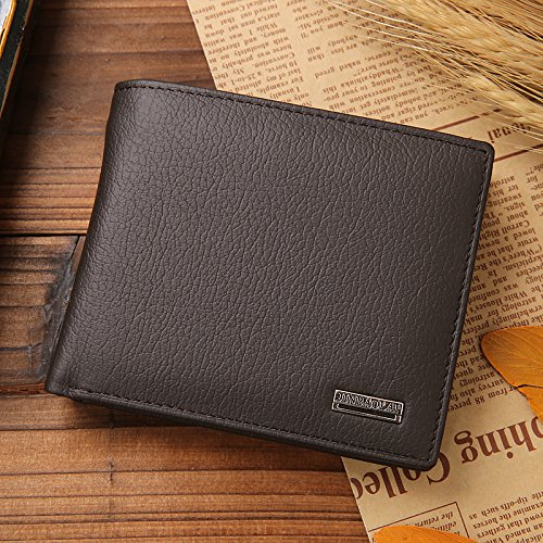 Wallet Wallet Card Pocket Holder Bifold Coffee Leather Men's Coin Purse Black Credit Tuopuda YOSIEE