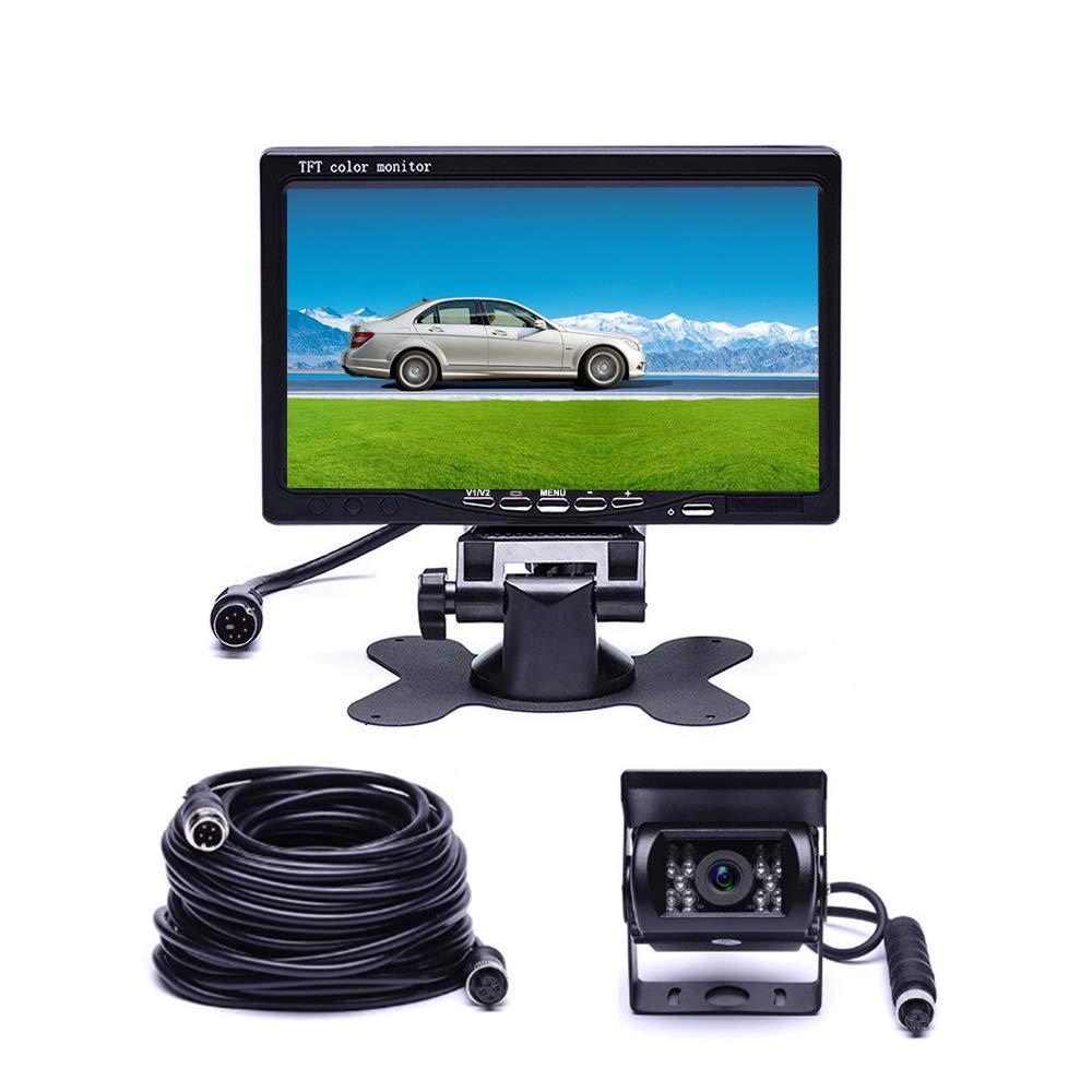 Podofo Wireless Backup Camera Waterproof 18 IR LED Night Vision Bluetooth Reverse Camera 65ft 4-Pin Avia 7 TFT Rear View Monitor Vehicle Parking System Backup Camera for RV//Bus//Trailer//Truck