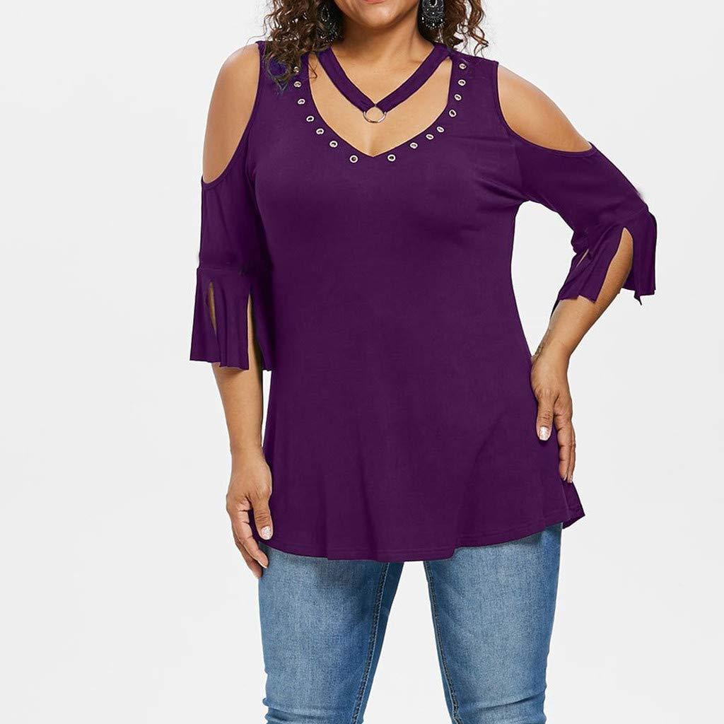 Bohelly ♚♚ Womens Summer Solid T-Shirt Flare Short Sleeve Vest V-Neck Rivet Blouse Casual Loose Shirts Tank Tops