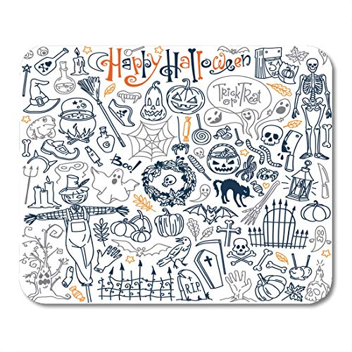 Boszina Mouse Pads Halloween Doodle Traditional and Popular Symbols Carved Pumpkin Party Costumes Witches Ghosts Monsters Mouse Pad for notebooks,Desktop Computers mats 9.5