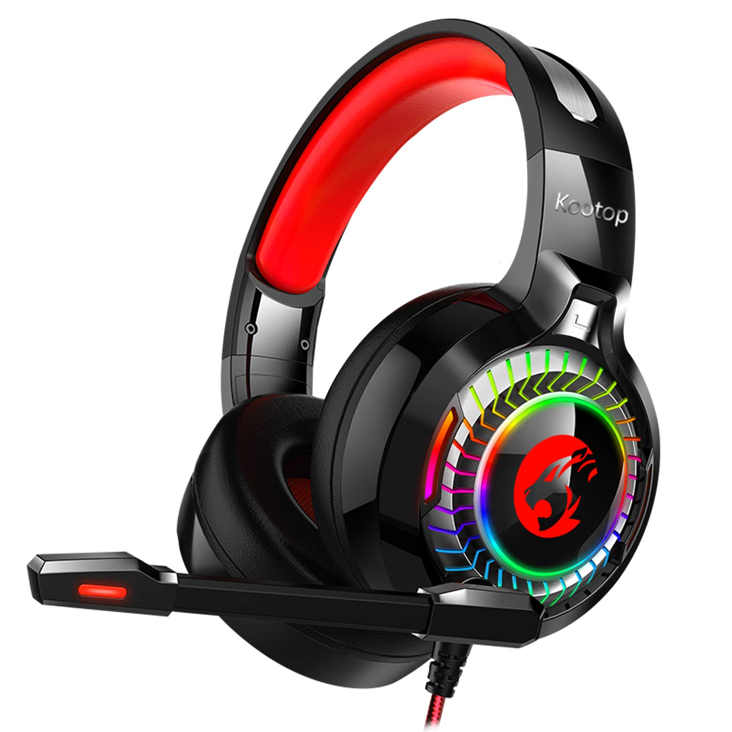 Gaming Headset for Xbox One,PS4,PC,Noise Cancelling Over Ear Headphones with Mic,RGB Light,Volume-Control, Bass, Soft Memory Earmuffs for Laptop Mac Nintendo Switch Games(Black&Red) by Kootop