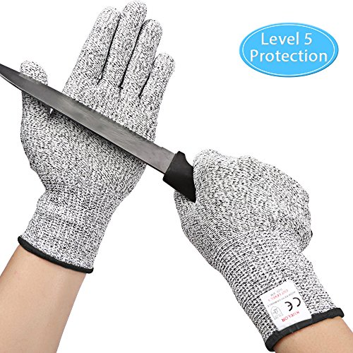 Kuelor Cut Resistant Gloves Level 5 Protection, Food Grade Kitchen Glove for Hand Protection, Stretchy Safety Gloves for Cutting, Slicing, Yard Work (Extra Large)