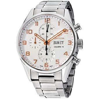 7a95b8d50702 Image Unavailable. Image not available for. Color  Tag Heuer Carrera Silver  Dial Stainless Steel Men s Watch ...